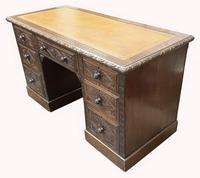 Good Quality Victorian Oak Pedestal Desk (2 of 7)