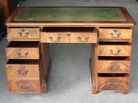 1960's Mahogany Pedestal Desk with Green Leather Inset on Top (2 of 4)