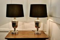 Pair of Large Art Deco Style Chrome Table Lamps with Black Shades (2 of 7)
