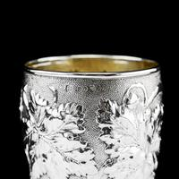 Antique Victorian Solid Silver Beaker / Cup with Superb Naturalistic Grapevine Design - Barnard 1871 (5 of 16)