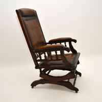 Antique Victorian Leather Rocking Chair (8 of 9)