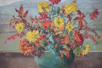 Large Mid Century Oil Painting Still Life of Chrysanthemums (4 of 10)