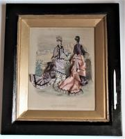 Antique Victorian 3-D Fashion Picture, Textile And Print, Original Frame, 1877 (8 of 8)
