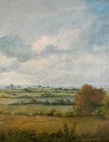 Original 20th Century Vintage English Farmland Country Landscape Oil on Canvas Painting (9 of 14)