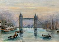 Superb Original 1921 View of Tower Bridge London Seascape Oil Painting (7 of 12)