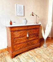 Flamed Mahogany Drawers / Louis Philippe Commode / Sideboard / Marble (5 of 9)