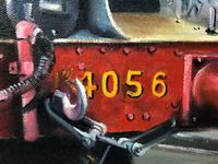 Oil Painting Railway Train Engine Princess Margaret 4056 With Figures Signed Ken Allsebrook (4 of 13)