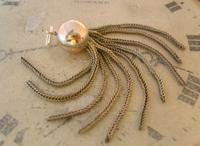 Vintage Pocket Watch Chain Tassel Fob 1950s Victorian Revival Large Silver Nickel Fob (4 of 4)