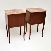 Pair of Antique French Inlaid Marble Top Bedside Chests (10 of 12)