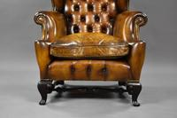 19th Century Victorian Hand Dyed Brown Leather Wing Back Armchair (7 of 9)