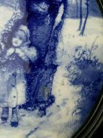 Rare Antique Royal Doulton Blue & White Mother & Girl Framed Oval Plaque C1910 (5 of 12)