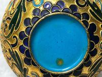 Pair Early 20th Century 1920's Chinese Gilt Champleve Cloissonne Vases (11 of 12)