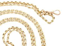 9ct Yellow Gold Longuard Chain - Antique c.1890 (4 of 12)