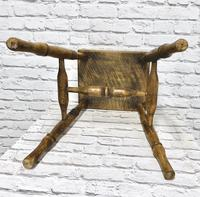 19th Century Kitchen Stool with Sycamore Seat (5 of 5)