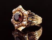 Antique Mourning Ring, 18ct Gold, Enamel, Pearl & Garnet - William IV (2 of 13)