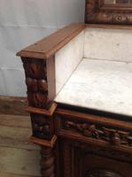 19th Century French Solid Oak Gothic Oak Revival Marble Top Washstand (2 of 9)