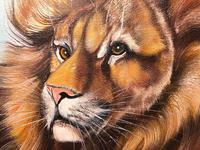 Fine Art Vintage 20th Century Oil Canvas Painting Recumbent Lion Portrait Signed (11 of 12)