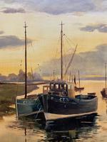 'the Estuary At Sundown' A Large Superb Original Vintage Seascape Oil Painting (4 of 12)