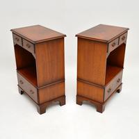Pair of Antique Georgian Style Burr Walnut Bedside Cabinets (9 of 10)