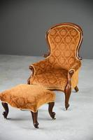 Antique Victorian Mahogany Armchair & Footstool (5 of 12)