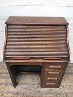 Antique Early 20th Century Oak Roll Top Desk (12 of 13)