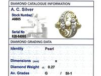 0.27ct Diamond & Pearl, 14ct Yellow Gold Dress Ring - Vintage c.1940 (6 of 9)