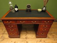Handsome Antique Pedestal Desk with New Black Leather to Top (20 of 21)
