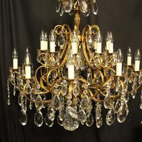 Italian Gilt & Crystal 21 Light Antique Chandelier (9 of 10)