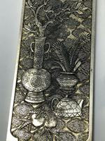Set of 4 Antique Chinese Silver Zu Yin Hallmarked Scroll Weight Plaques Guangxu (7 of 12)