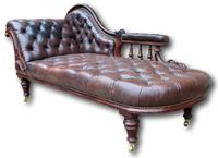 Victorian Mahogany Chaise Lounge with Button Leather Upholstery (4 of 7)