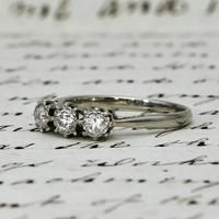 The Antique Old European Cut Three Diamond Ring (2 of 6)