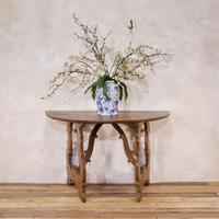 Charming 18th Century Italian Demi-Lune Lyre-Leg Fruitwood Table (12 of 13)
