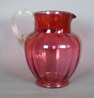 Large Victorian Hand Blown Cranberry Jug (3 of 6)