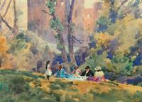 Outstanding 20thc Signed Autumn Landscape Castle Ruin Watercolour Painting (6 of 11)