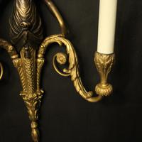 French Pair of Gilded Bronze Twin Arm Antique Wall Sconces (6 of 10)