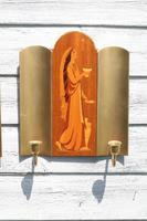 Pair of Swedish Art Deco Double Candle Sconces by Mjolby Intarsia c.1930 (5 of 21)