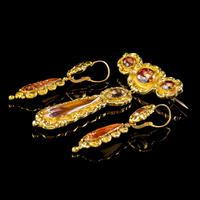Antique Georgian Brooch & Earring Set 18ct Gold Pink Quartz + Paste Circa 1800 Boxed (3 of 11)