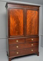 Georgian Flame Mahogany Linen Press / Wardrobe