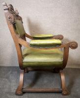Late Victorian Carved Oak & Leather Armchair (10 of 14)