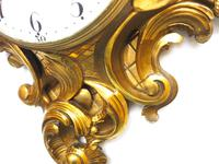 Impressive French Carved Cartel Wall Clock 8 Day Movement Scrolling leaf design 84cm High (9 of 13)