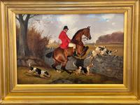 """Victorian Sporting Oil Painting """"Taking A Fence"""" Horse  & Rider With Scent Foxhounds Hunting By John Alfred Wheeler (4 of 59)"""