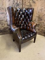 Early 20th Century Button Back Leather Barrel Back Armchair