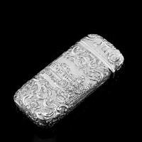 "Antique Solid Silver Victorian Cigar Cheroot Case ""Castle Top"" Windsor Castle Design - Nathaniel Mills 1844 (4 of 12)"