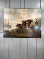 Antique Victorian landscape Oil Painting with Cows Sheep & Milkmaid (10 of 10)