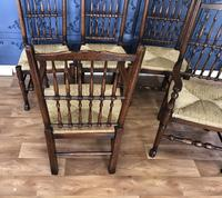 Set of Six Oak Spindle Back Dining Chairs (10 of 12)