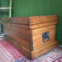 Antique Victorian Pine Chest Rustic Industrial Wooden Trunk + Key + Original Interior (4 of 12)