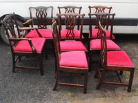 1900s -Set 8 Walnut Georgian style Dining Chairs with Pop out Seats 6+2 (3 of 3)