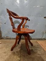 Antique Chinese Cherry Wood Swivel Captains Desk Chair (7 of 10)