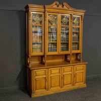 Edwardian Oak Breakfront Bookcase with Open Central Section (4 of 10)