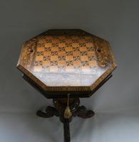 Late Victorian Walnut Trumpet Workbox Table (4 of 7)